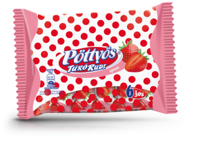 "Pottyos Rudi, ""Epres"" Strawberry Curd cheese dessert, 6x 30g - 15/box"